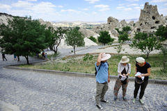 Tourists in Cappadocia Royalty Free Stock Images