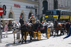 Tourists in carriage visiting Vienna Royalty Free Stock Image