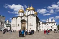Tourists at the Cathedral Square of the Moscow Kremlin summer day Stock Images