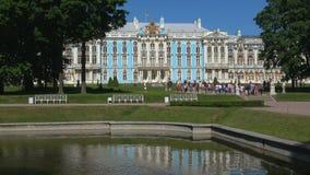 Tourists at the Catherine Palace. Tsarskoye Selo, St. Petersburg. SAINT PETERSBURG, RUSSIA - MAY 29, 2018: Tourists at the Catherine Palace on a Sunny may day stock footage