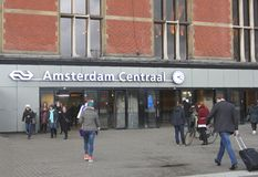 Tourists at the Central Railway Station,Amsterdam Royalty Free Stock Photo