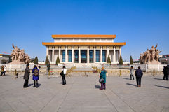 The tourists and Chairman MAO memorial hall Royalty Free Stock Image