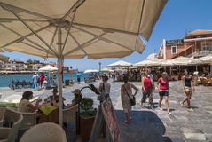 Tourists in Chania. Tourists at Venizelou square in Chania harbour. Greece, Europe Royalty Free Stock Photography