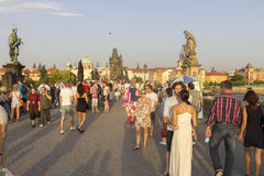 Tourists on the Charles bridge Royalty Free Stock Photography