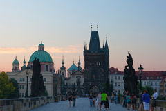 Tourists on Charles Bridge Stock Photography