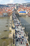 Tourists on the Charles bridge Stock Image