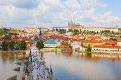 Tourists on Charles Bridge, Prague Royalty Free Stock Photography