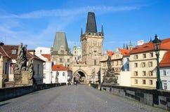 Tourists on Charles Bridge, Prague, Czech Republic. Stock Photos