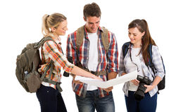Tourists checking directions Royalty Free Stock Images