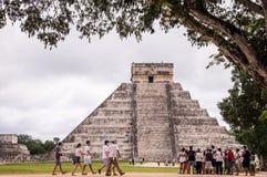 Tourists at Chichen Itza, Yucatan, Mexico stock image