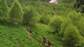 Tourists with child in hiking carrying backpacks walk on beautiful green slope. Three tourists with backpacks and trekking poles walk on beautiful green slope stock footage