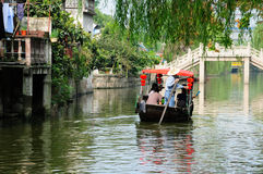 Tourists on Chinese Boats in Fengjing Town Shanghai Royalty Free Stock Images