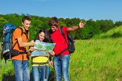 Tourists choosing their way Stock Image