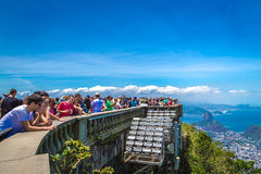 Tourists at the Christ the Redeemer attraction in Rio de Janeiro, Brazil Royalty Free Stock Image