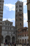 Tourists at Church in Lucca Italy Royalty Free Stock Photos