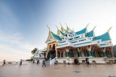 Tourists at the church of Phu Kon temple, Thailand Stock Photo