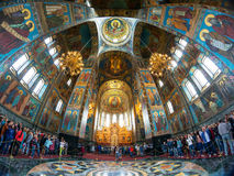 Tourists in of Church of the Savior on Spilled Blood, St Petersb Royalty Free Stock Photo