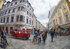 Tourists and citizens on one of the pedestrian streets of Bratislava Stock Image