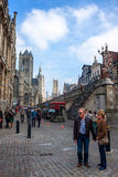 Tourists in city center of Gent Royalty Free Stock Images