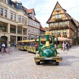 Tourists during a city tour in Quedlinburg Stock Image