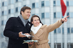 Tourists on city trip with guide Royalty Free Stock Photography