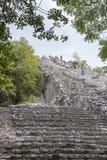 Tourists climb the Pyramid Nohoch Mul along the guiding rope at the Mayan Coba Ruins, Mexico.  stock image