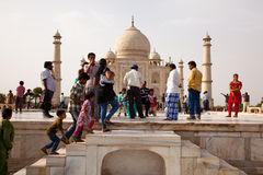 Tourists Climb stairs at the Taj Mahal Stock Photography