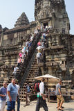 Tourists climb the steep steps Stock Photos
