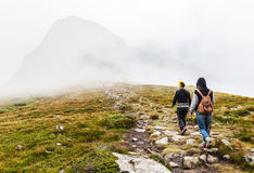 Tourists climb to the top of Hoverla Royalty Free Stock Images