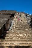 Tourists climbing the Ek Balam Acropolis Stock Photos