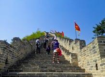 Tourists climbing Huanghuacheng Great Wall Royalty Free Stock Photos