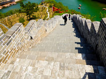 Tourists climbing Huanghuacheng Great Wall Royalty Free Stock Photography