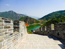 Tourists climbing Huanghuacheng Great Wall. One section in Bejing China on a sunny day Royalty Free Stock Images