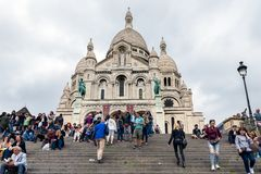 Tourists climbing stairs of Sacre Coeur at Paris, France Royalty Free Stock Photos