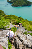 Tourists are climbing to the scenic islands. Royalty Free Stock Photo