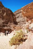 The tourists in Colored Canyon, Egypt Royalty Free Stock Image
