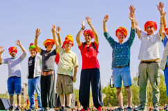 Tourists with colorful Indian traditional turbans Stock Photos