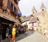 Tourists - Conques - France Stock Photos