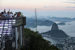 Tourists are on the Corcovado Hill Stock Photos
