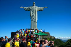 Tourists on the Corcovado Hill visiting the Christ Stock Photography