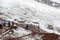 Tourists on Cotopaxi Volcano Royalty Free Stock Photos