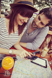 Tourists Couple In Cafe Royalty Free Stock Photography