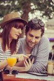 Tourists Couple In Cafe Royalty Free Stock Image