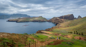 Tourists couple doing their hike at Madeira island Royalty Free Stock Photos
