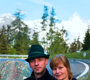 Tourists couple on Grossglockner High Alpine Road Royalty Free Stock Image