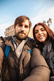 Tourists Couple Taking Selfie Royalty Free Stock Image