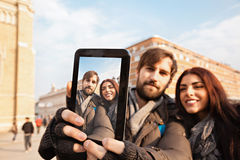 Tourists Couple Taking Selfie Stock Image