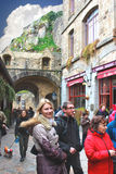 Tourists in the courtyard abbey of Mont Saint Michel. Stock Images