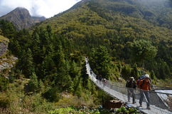Tourists crossing a bridge in the Himalayas Royalty Free Stock Images