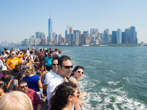 Tourists in a cruise ship on the bay of New York Stock Photography